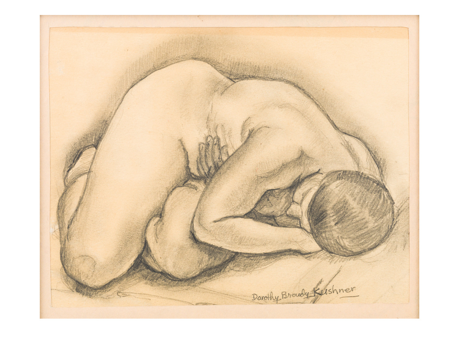 Dorothy Browdy Kushner Nude Pencil + Watercolor 1930s